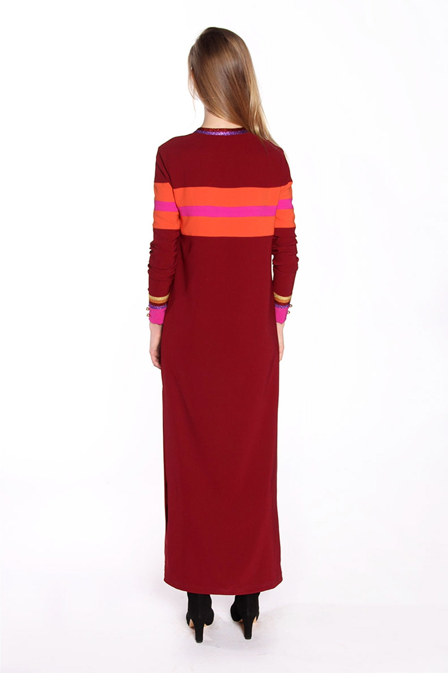 Color Block Crepe Maxi Dress