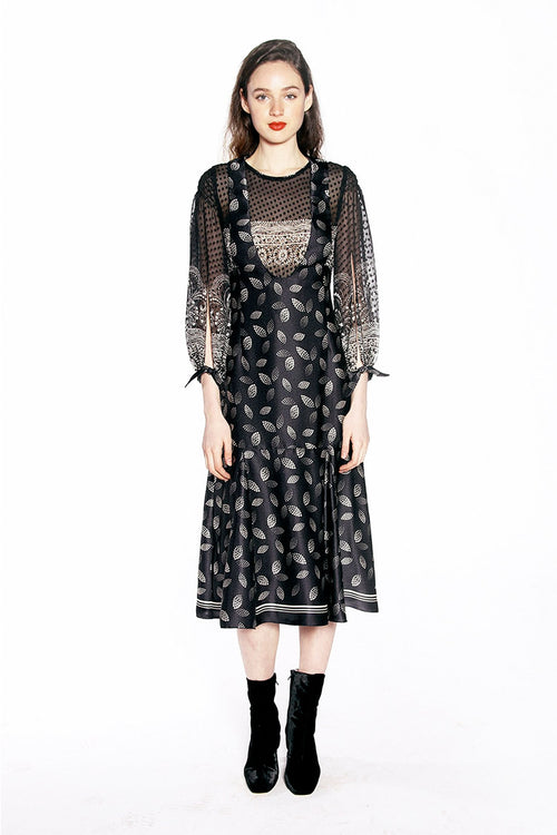 Dotted Leaves Charmeuse Dress