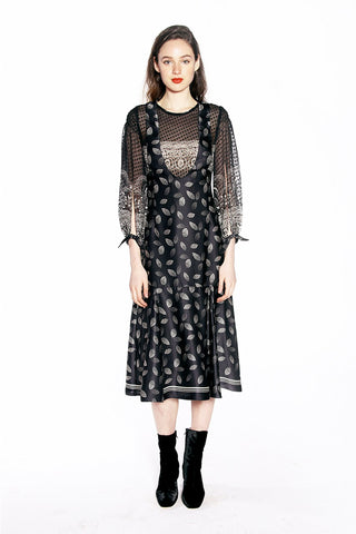 Flocked Crinkle Organza Flutter Sleeve Dress