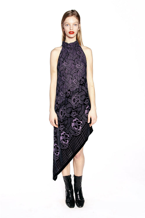 Rose Basket Velvet Burnout Halter Dress