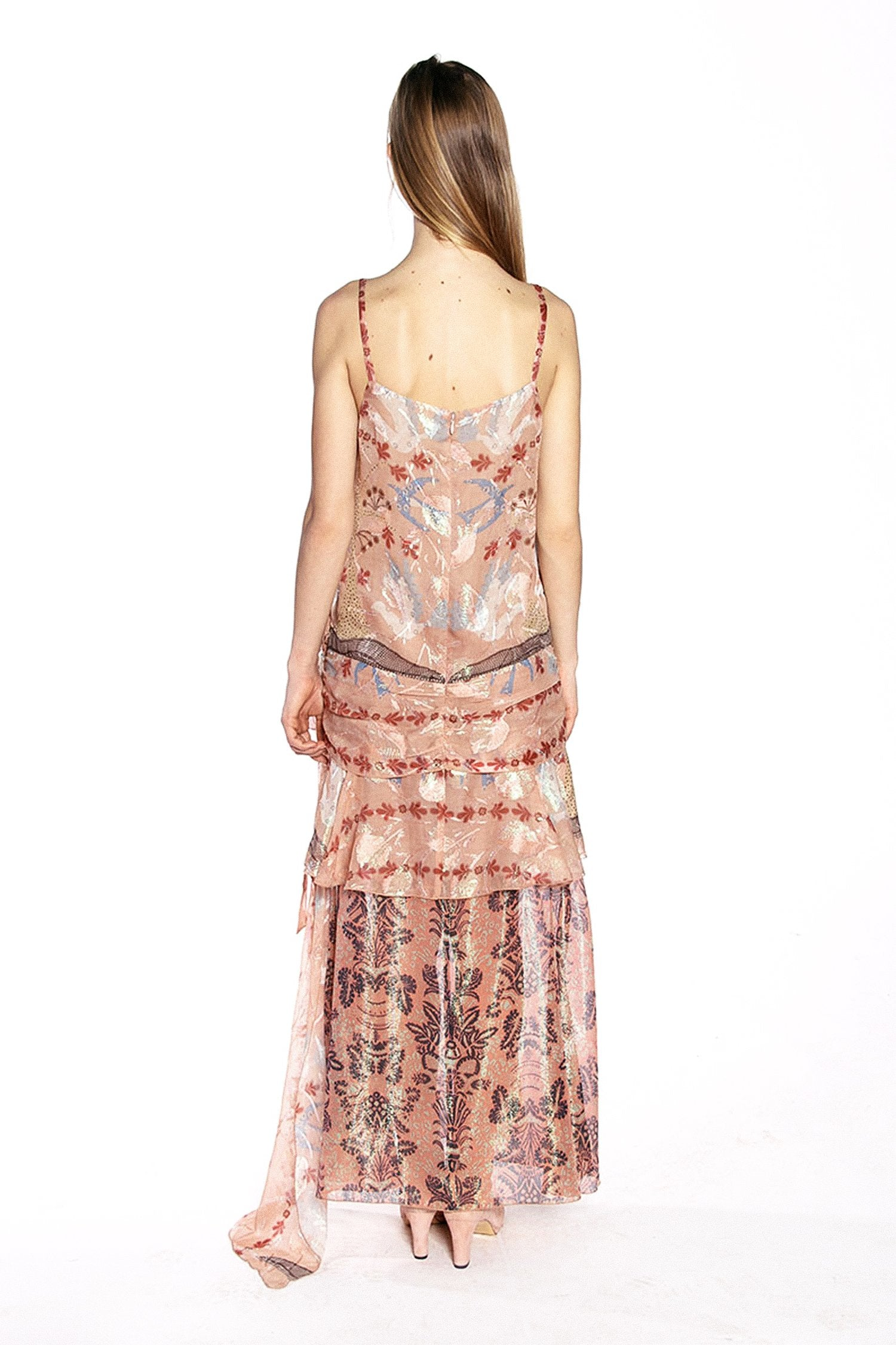 Feathers & Foliage Metallic Jacquard Dress