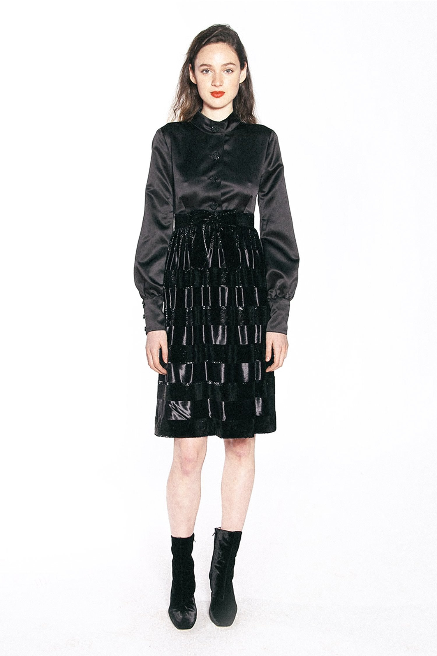 Seal It With a Kiss Stripe Velvet Dress - Anna Sui