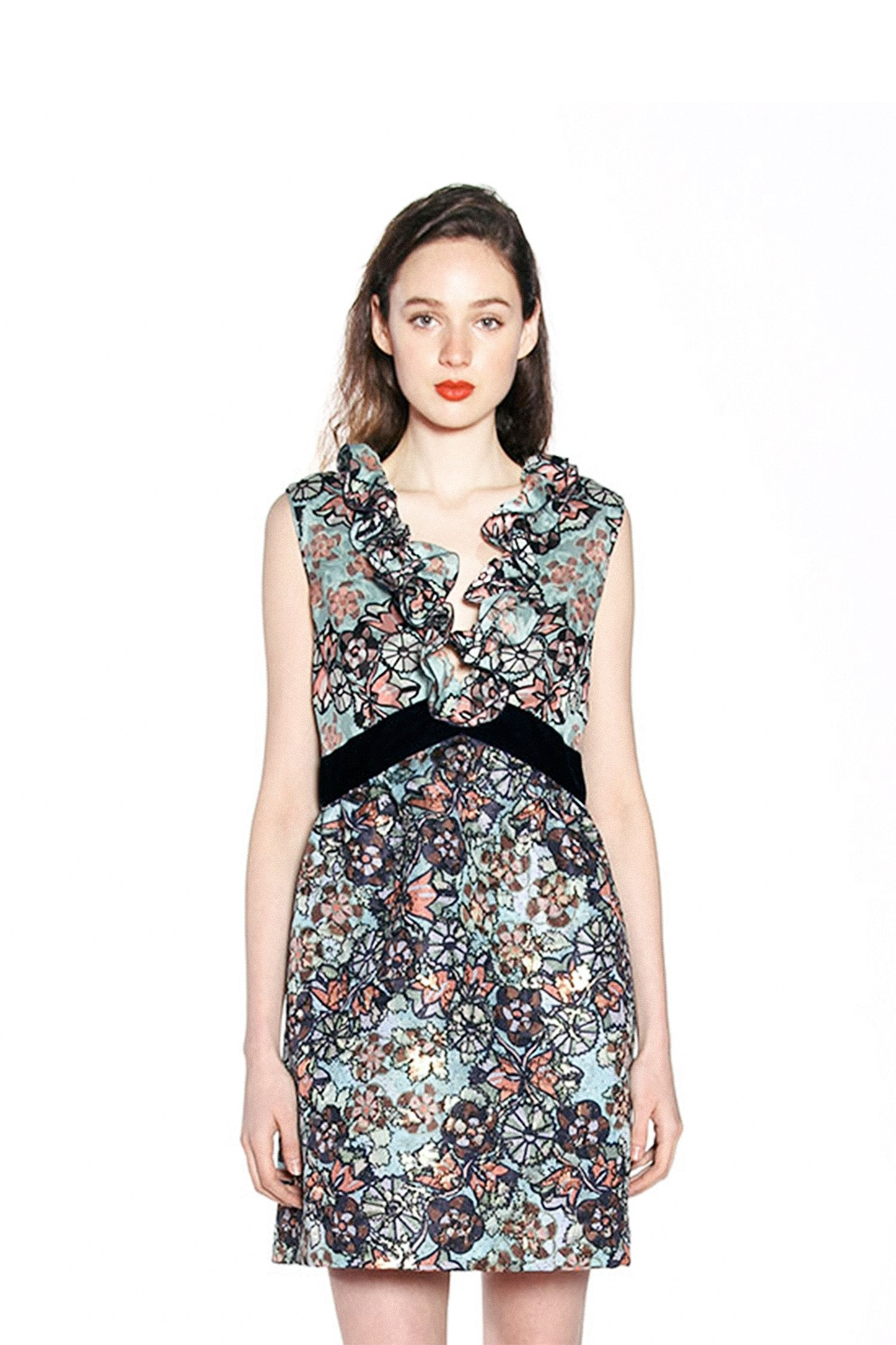 Floral Vines Metallic & Mesh Jacquards Dress