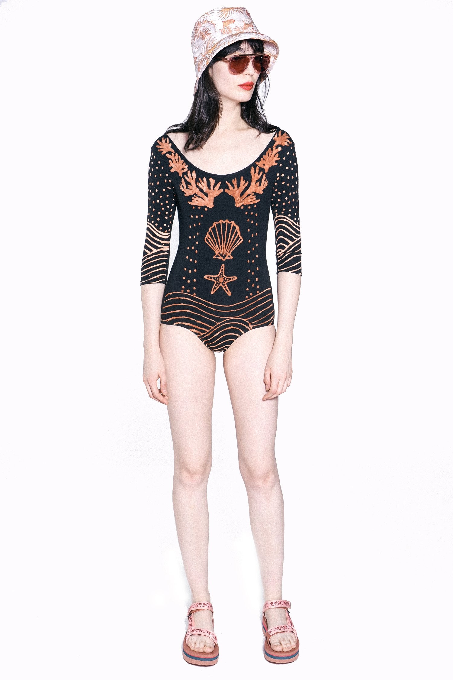 Brass Arrow X Anna Sui Sea Shell Swimsuit With Sleeve