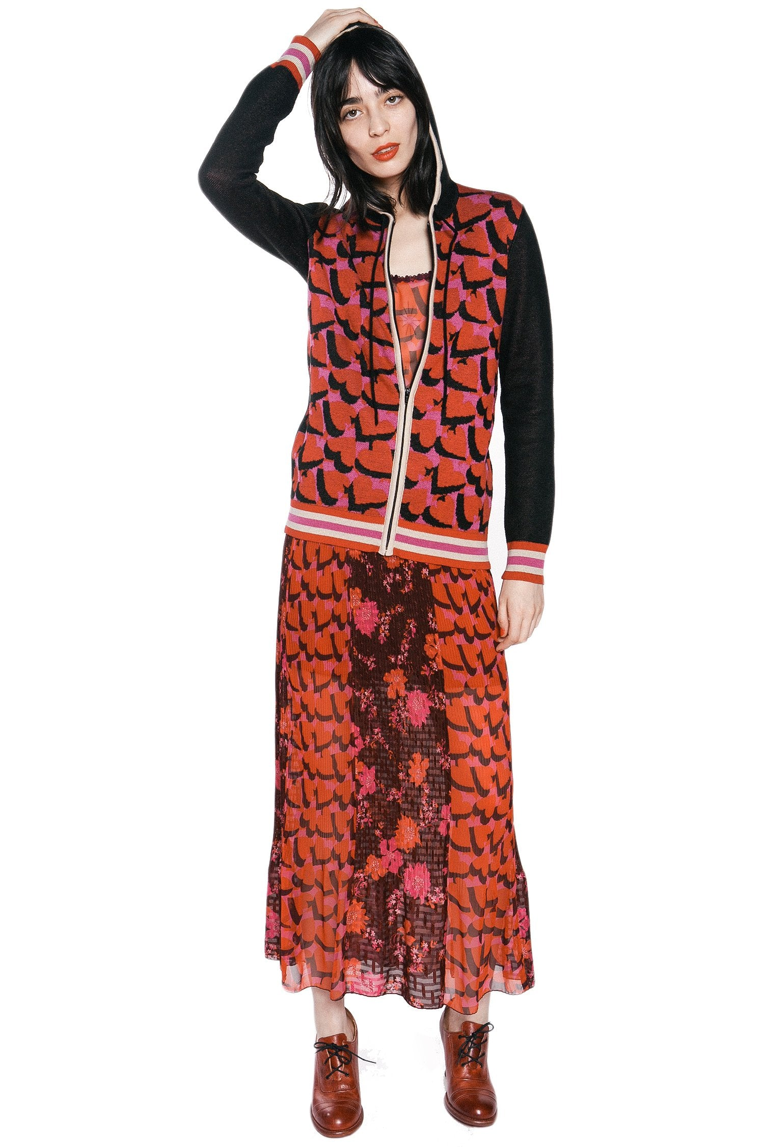 James Coviello Hearts & Cherries Knit Hoodie - Anna Sui