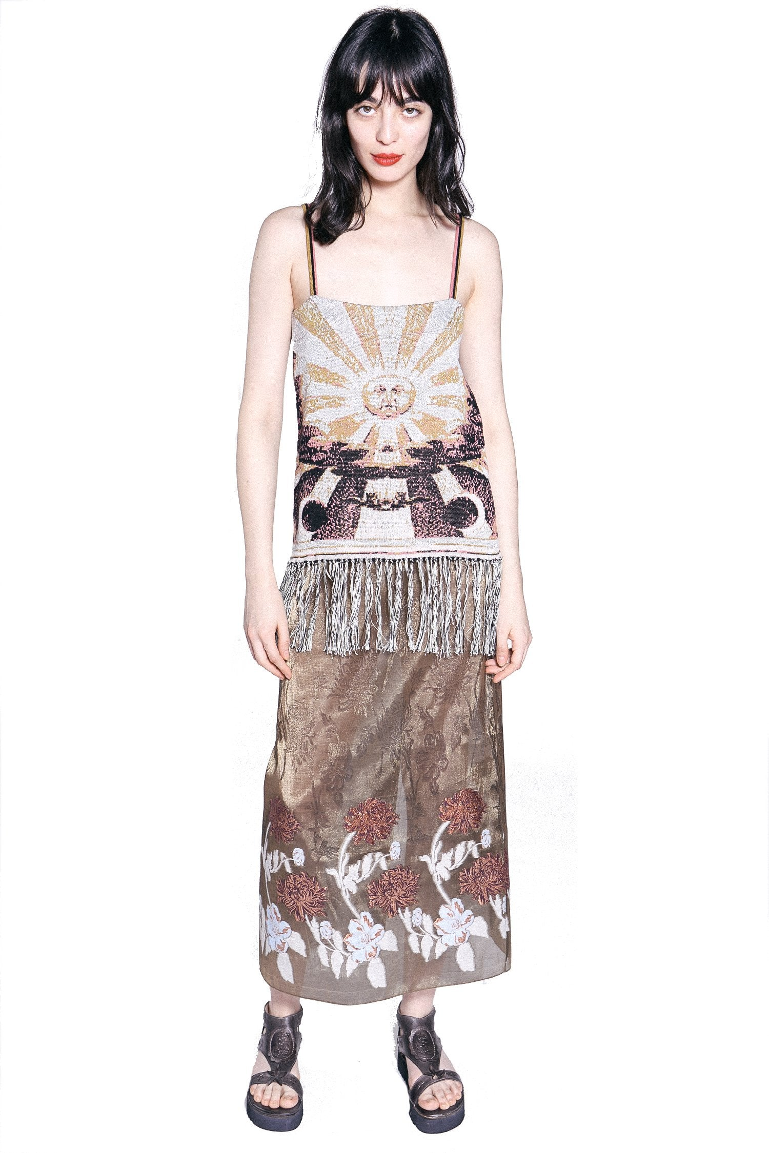 Botanical Sunset Clipped Lurex Jacquard Skirt - Anna Sui