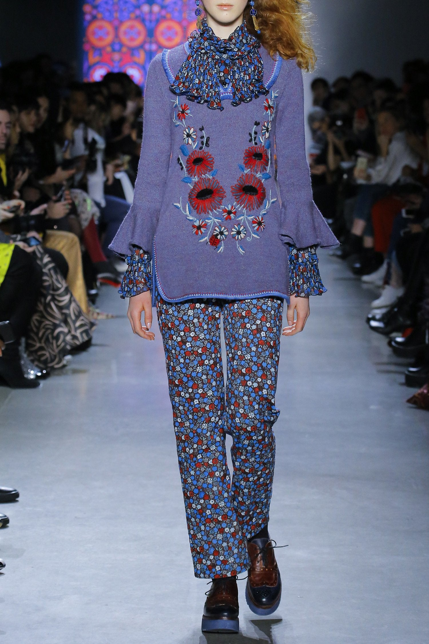 James Coviello for Anna Sui <br>Floral Embroidery Knit Tunic</br>