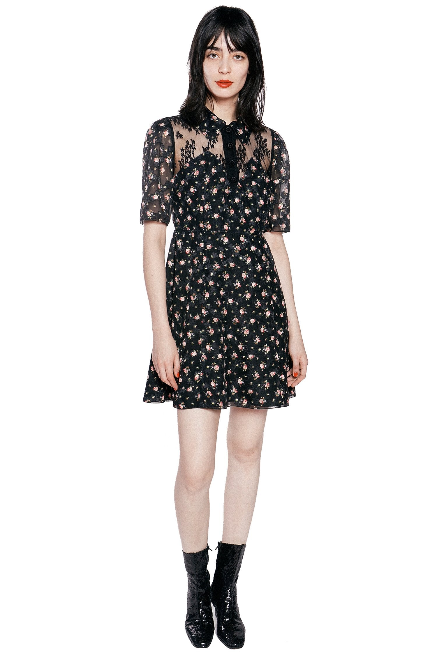 Blooming Buds Clipped Jacquard & Lace Dress - Anna Sui
