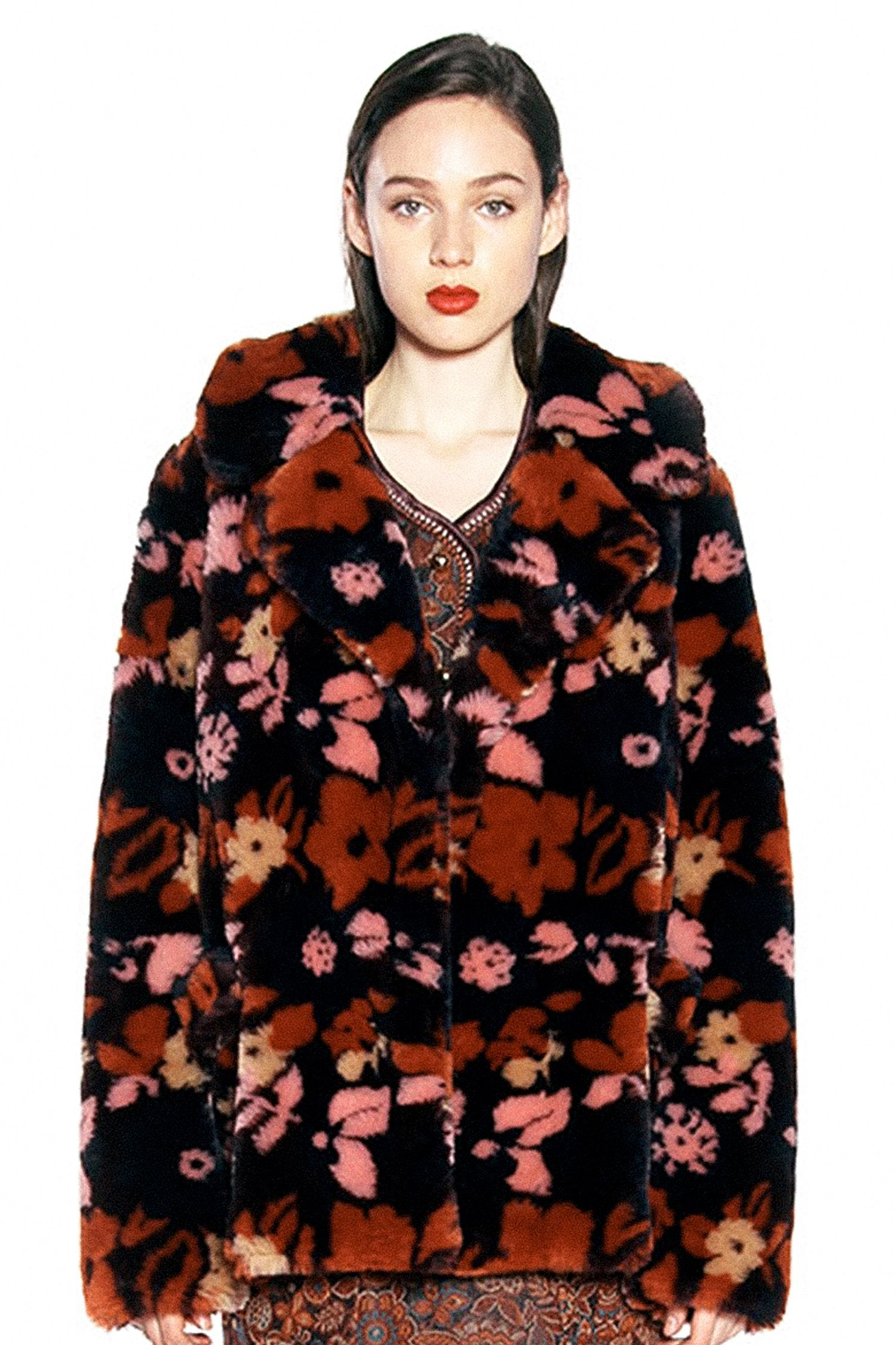 Floral Faux Fur Short Coat