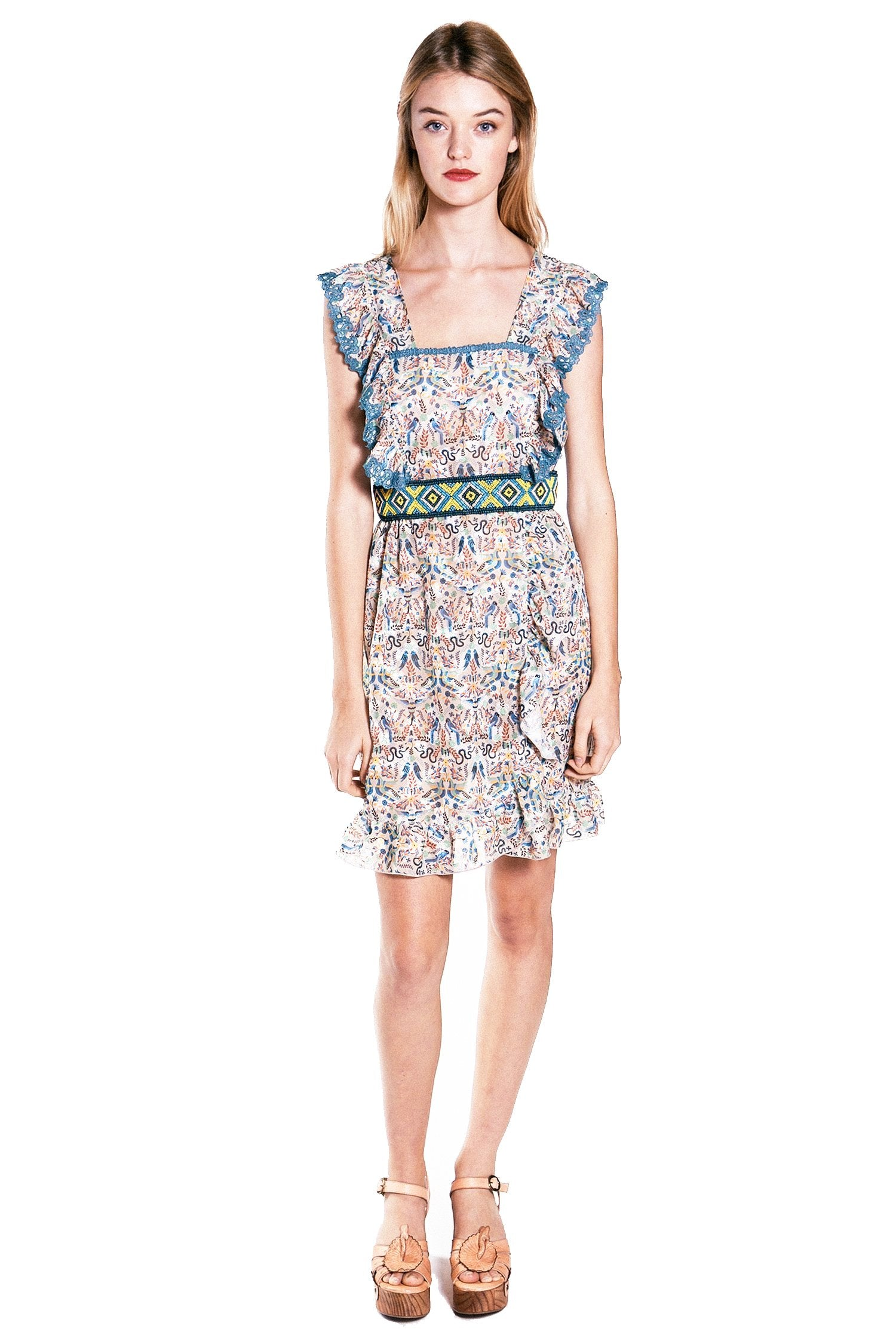 Garden Of Eden Clipped Jacquard Ruffled Dress