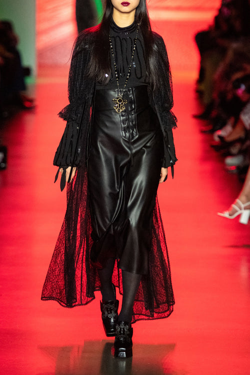 Lady In Black Lace & Velvet House Coat - Anna Sui