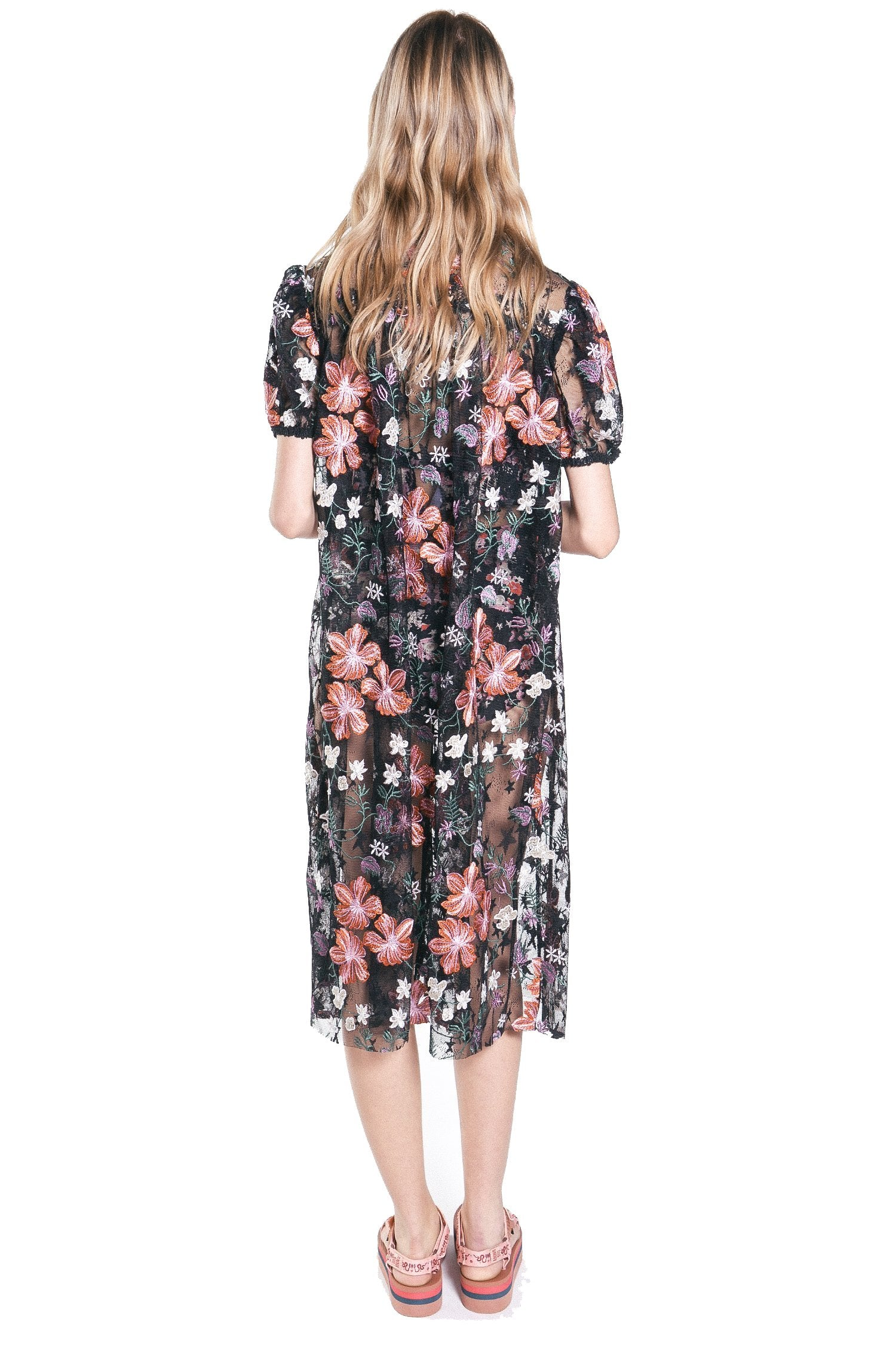 Hibiscus Embroidered Mesh Cover-Up - Anna Sui