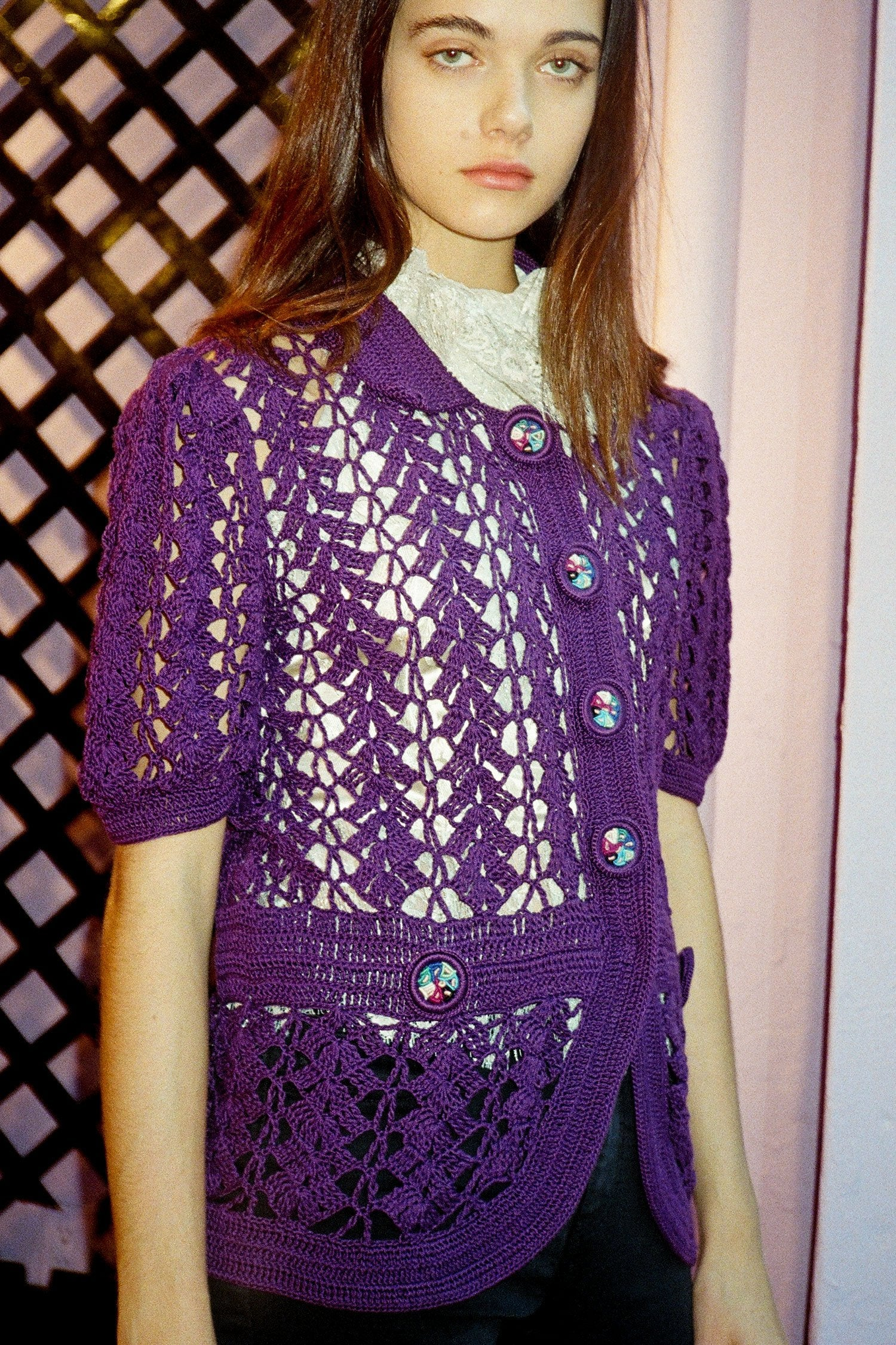 Vintage Purple Crochet Sweater <br> Spring 2008 </br> - Anna Sui