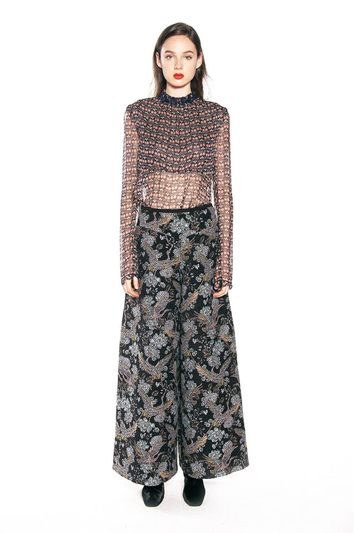 Blooms Crinkle Chiffon Top - Anna Sui