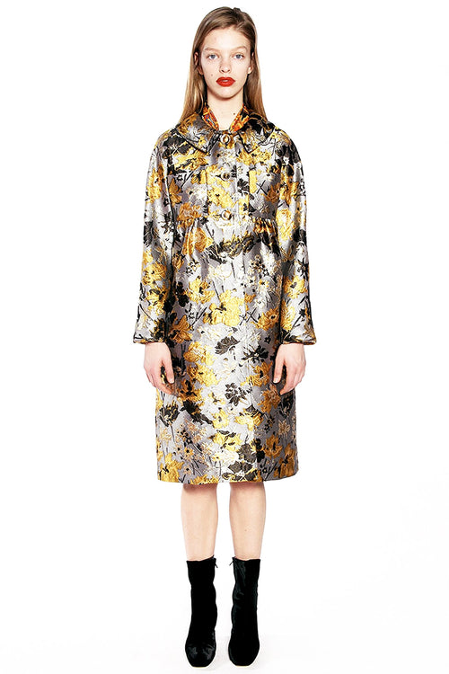 Scattered Flowers Metallic Brocade Coat