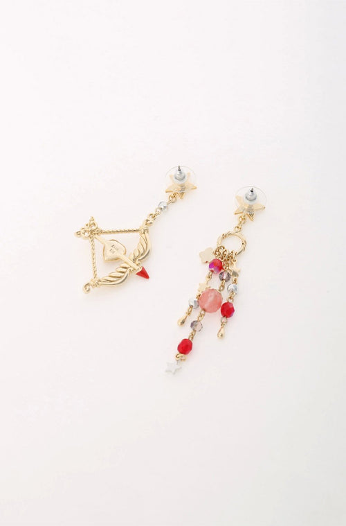 Gold and Red Bow and Arrow Earrings <br> SS20 </br> - Anna Sui