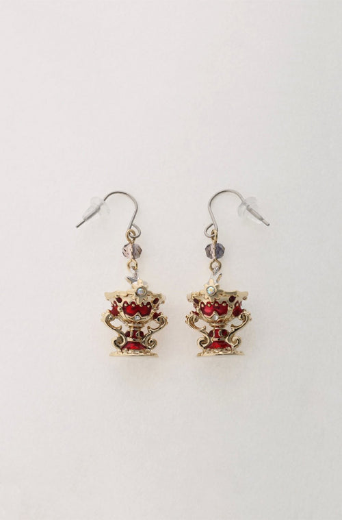 Gold and Red Goblet Earrings <br> SS20 </br> - Anna Sui