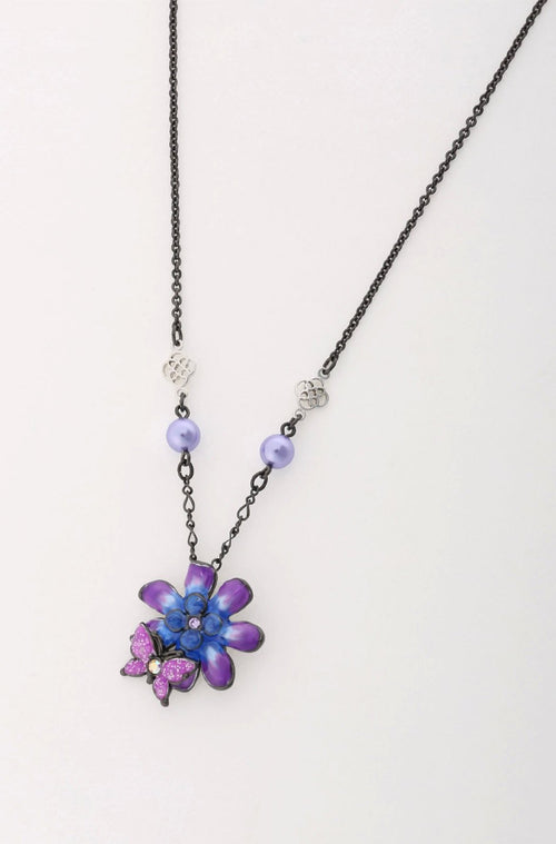 Enamel Flower and Pearl Earrings with Necklace Set <br>SS20 </br> - Anna Sui