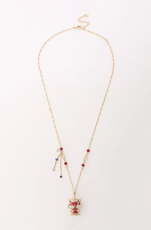 Gold and Red Goblet Necklace <br> SS20 </br> - Anna Sui