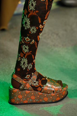 Anna Sui x John Fluevog <br> Yellow Neon Orange Derby Swirl Boot </br>