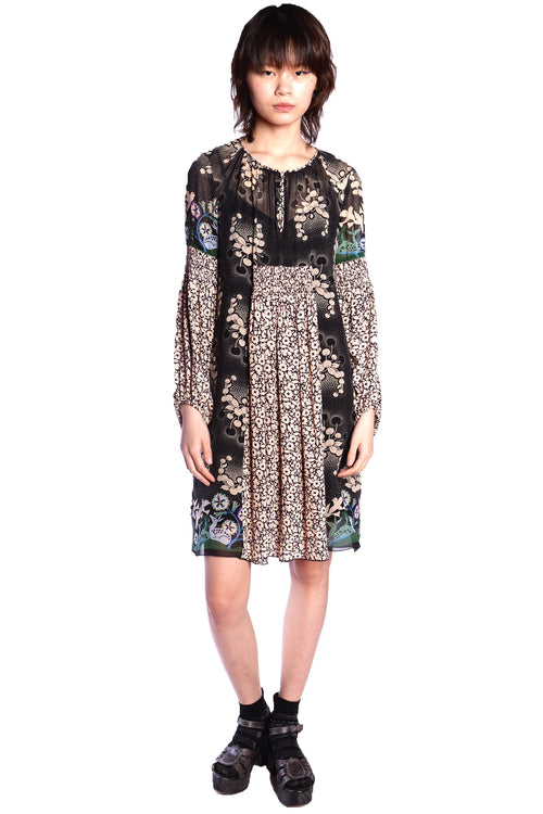 Wild Cherry Border Mixed Print Dress - Anna Sui