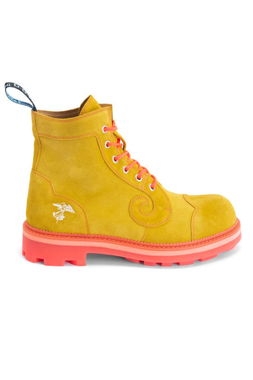 Anna Sui x John Fluevog <br> Yellow Neon Orange Derby Swirl Boot </br> - Anna Sui