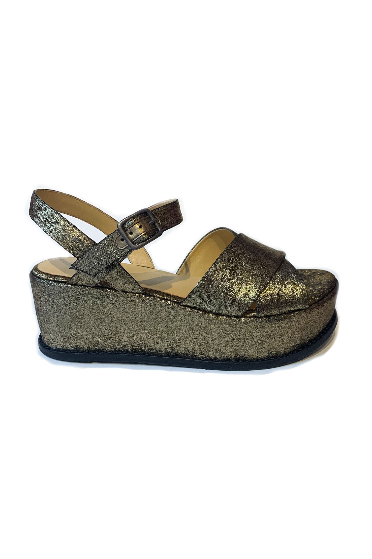 Alexia Sandal <br> Gold Glitter Suede - Anna Sui