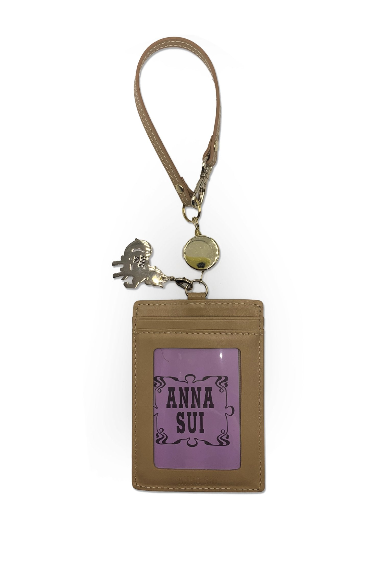 Baby Blue Embossed Card Case with Unicorn Charm - Anna Sui