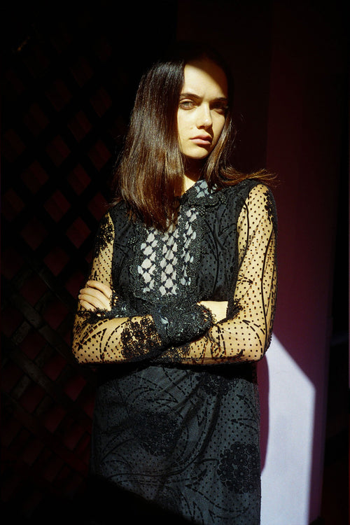 Vintage Black Lace & Burnout Dress Fall 2016 - Anna Sui