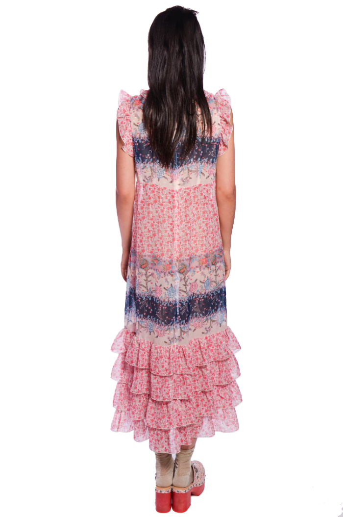 Paisley Garden Border Ruffle Dress - Anna Sui