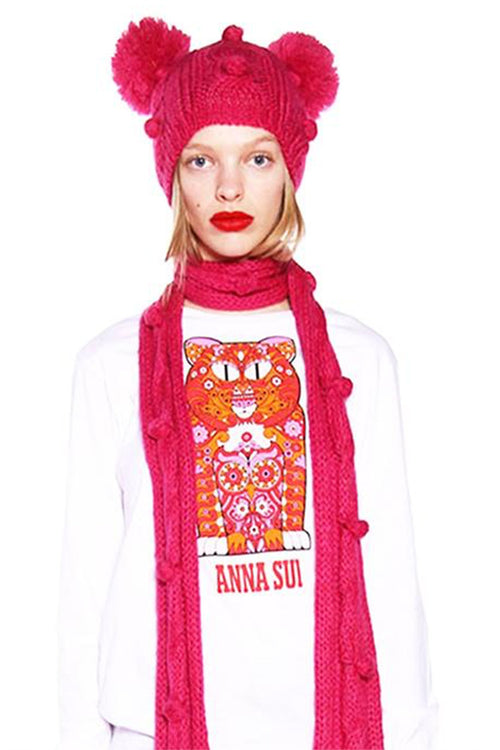 James Coviello for Anna Sui <br>Bobble & Cable Knit Beanie</br> - Anna Sui