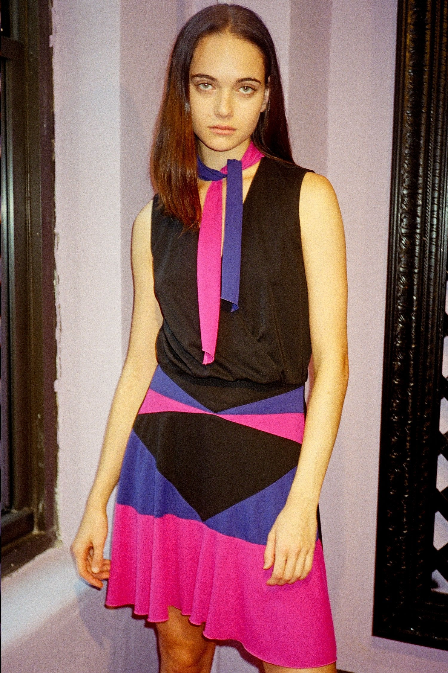 Vintage Art Deco Color block Dress - Anna Sui