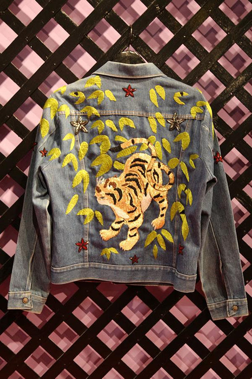 THE FALLS <br> Hand Beaded Vintage Denim Jacket - Anna Sui