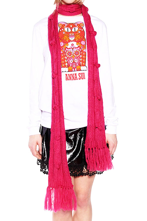 James Coviello for Anna Sui <br>Bobble and Cable Knit Scarf</br> - Anna Sui