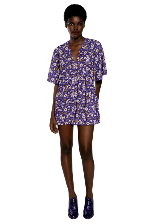 Floating Flowers Crepe Romper - Anna Sui
