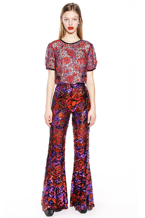 Festive Sequins Flared Trousers