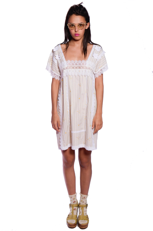 Embroidered Stripes Dress - Anna Sui