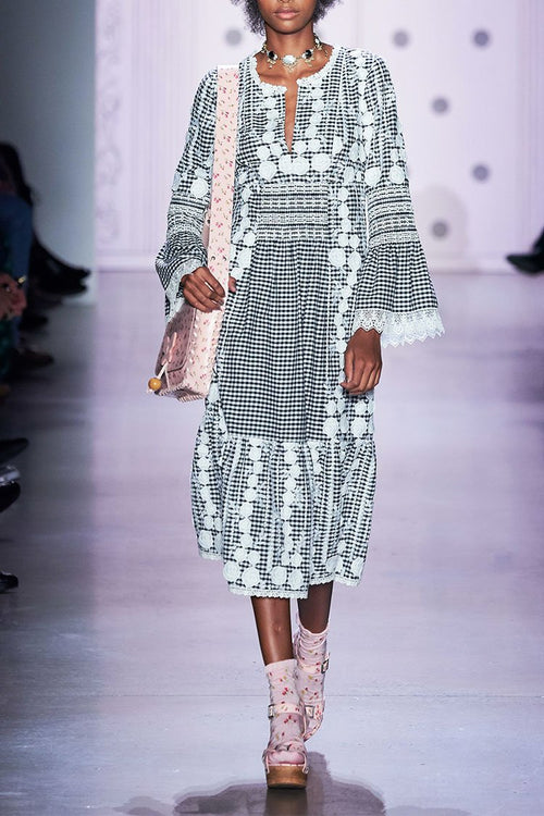 Embroidered Gingham Dress - Anna Sui