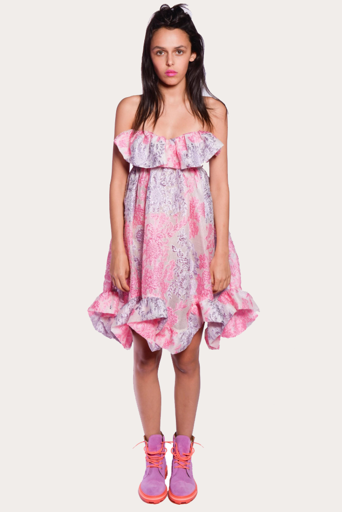 Metallic Floral Jacquard Dress - Anna Sui