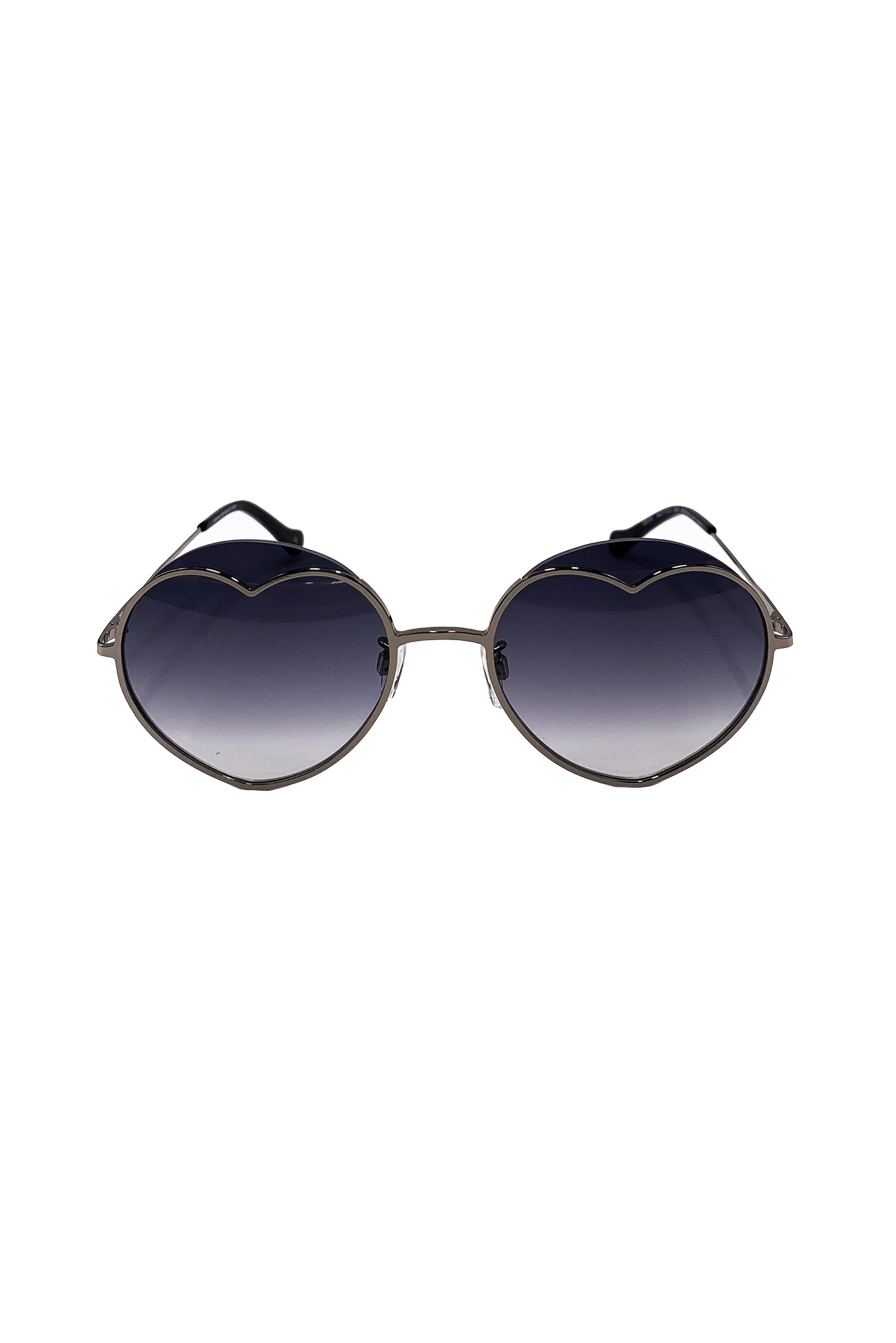 Loveheart Sunglasses <br> in Light Gunmetal </br> - Anna Sui