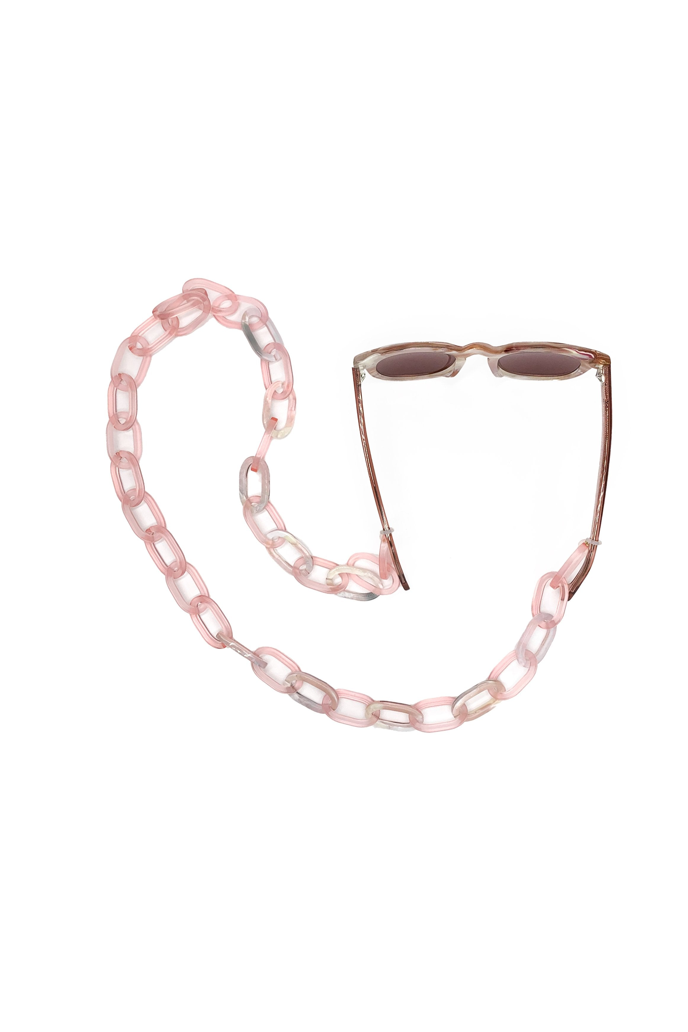Recycled Acetate Sunglass Chain <br> in Rose </br> - Anna Sui