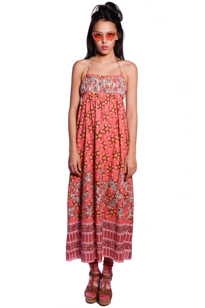 Pom Pom Wreath Border Print Maxi Dress - Anna Sui