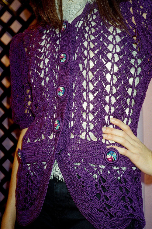 Vintage Purple Crochet Sweater - Anna Sui