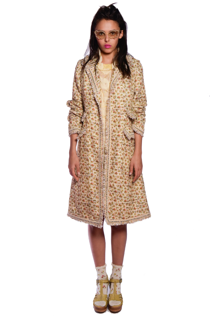Rosebuds Tweed Coat - Anna Sui
