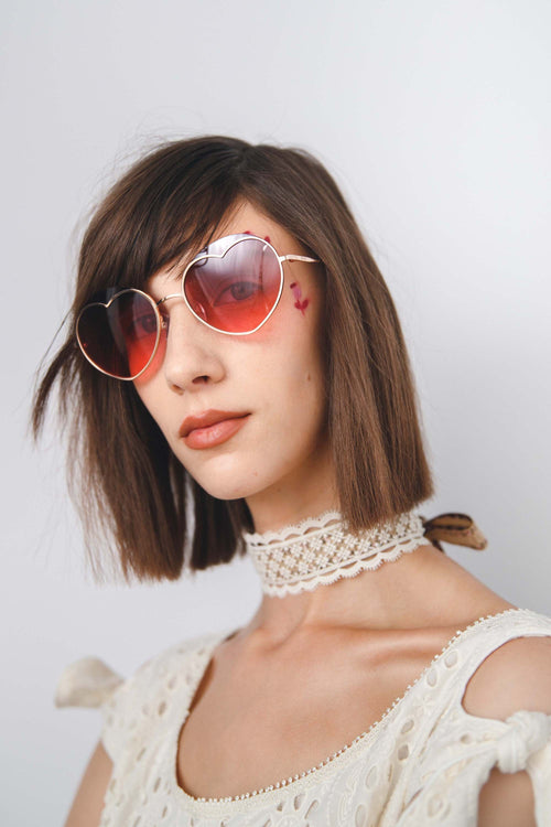 Loveheart Sunglasses <br> in Rose Gold </br> - Anna Sui