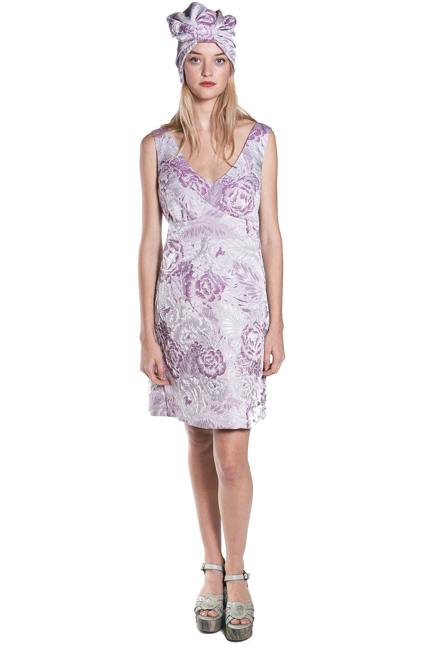 Mauve Peonies Lurex Jacquard Dress