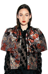 Scattered Flowers Metallic Brocade Capelet Vest - Anna Sui