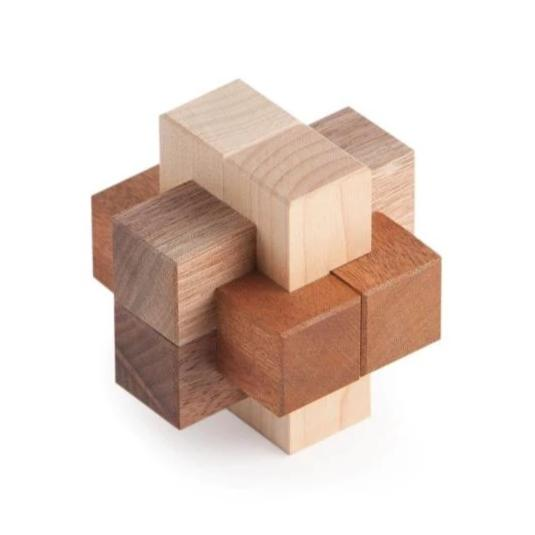 Burr Puzzle, Interlocking Puzzle, Assembly Puzzle, Wooden Puzzle, Artisan Puzzle, Eric Fuller Puzzle, Cubic Dissection, Bill Cutler, Walnut, Maple, Sapele