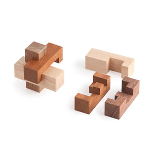 Burr Puzzle, Assembly Puzzle, Interlocking Puzzle, Wooden Puzzle, Cubic Dissection, Eric Fuller Puzzle, Artisan Puzzle, Bill Cutler, Maple, Walnut, Sapele