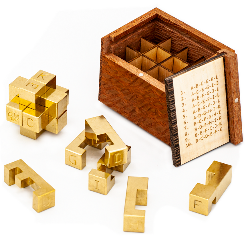 Puzzle games for adults, metal puzzles, and interlocking burr puzzles by Cubic Dissection
